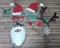 Photo Booth Props Weddings Parties Christmas  Santa Mrs Claus Reindeer 13PC