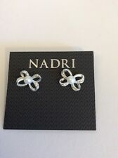 Nadri Silver Tone Bow Earrings With Pearl #230