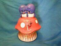 Adorable Vintage Kitch Blue Love Birds on Mushroom w Ladybug Ceramic Coin Bank