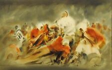 """Doug Lew """"The Third Down"""" Original Watercolor Painting, football, MAKE AN OFFER!"""