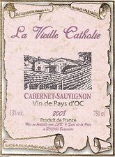 Etiquette de vin - Vin Pays d'Oc - La Vieille Cathalie Cabernet Sauvignon - 2008