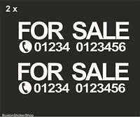 2x FOR SALE + PHONE NUMBER Custom Car,Van,Window Vinyl Sign Decal Sticker