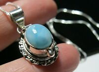 Beautiful STERLING SILVER Real Larimar Gem Stone Opening Locket Pendant Necklace