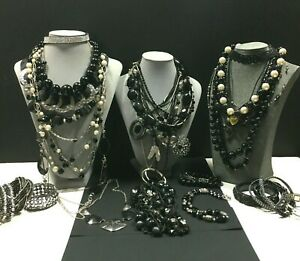 Vintage & New Silver & BLACK JEWELRY LOT Necklaces Bracelets Some Signed N79E