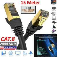 15M RJ45 ETHERNET NETWORK CABLE CAT8 PATCH 10GBPS LAN LO LEAD STP CORD SPEED UK