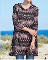 Plus size ladies womans cool summer A Line pink black tunic dress top 18-28 UK
