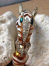 Zebra Animal Womens Bangle Cuff Gold Bracelet Orange Enamel Stripes w/ Stones