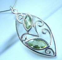 Faceted Peridot Necklace 925 Sterling Silver Floral Style Double Gem Gemstone