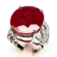 Ruby Pigeon Blood Red Ring Size 6.25 Oval 38.8Ct. 925 Sterling Silver Gift Women