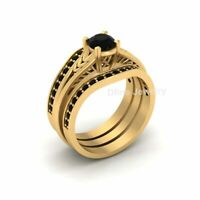 Black Diamond Heart Prong Solitaire Engagement Ring Set Leaf Vine Wedding Rings