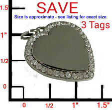 3 LARGE Personalized Bling CZ Silver Heart Pet ID Dog Tag Charm! FREE ENGRAVING!