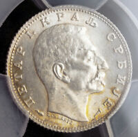 1915, Kingdom of Serbia, Peter I. Silver 1Dinar Coin. KM-25.3. PCGS MS-63!