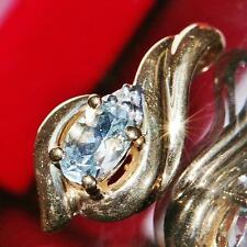 10k yellow gold pendant 0.47ct aquamarine & diamond swirl charm Handmade  1.6gr