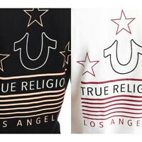 True Religion Women's Crystal Embellished Flag Deep V-Neck Tee T-Shirt