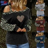 Womens Leopard Print One Shoulder T-Shirt Blouse Long Sleeve Loose Tops Pullover