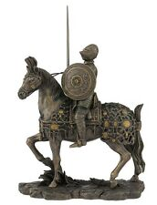 "9.25"" Armored Medieval Knight & Horse w/ Sword Statue Battle Warrior Sculpture"