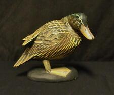 Folky Carved Wood Duck on Mound Detailed & Very Colorful