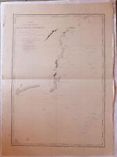 Carte marine nautical map Bornéo côte sud-est Asie XIXème s
