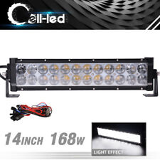 14inch 168W Combo LED Light Bar Pickup ATV 4X4 Reverse Bumper Offroad + Harness