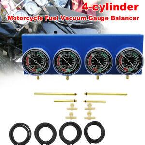 4Pcs Carburetor Synchronous Test Fuel Vacuum Gauge Balancer Meter Kit 4-cylinder