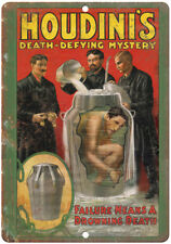 """Houdini's Death Defying Mystery Magician 10"""" X 7"""" Reproduction Metal Sign ZH148"""