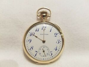 Vintage 1907 Waltham Pocket Watch- 0s, 15j, blue numbered dial, 14K solid gold
