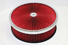 "14"" X 4"" Chrome Round Red High Flow Thru Washable Air Cleaner Flat Base SBC 350"