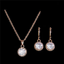 Fashion Women Gold Plated Pretty Cubic Zirconia Jewelry Sets Necklace/Earrings