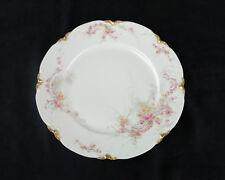 Haviland Limoges Dinner Plate, Antique France Schleiger 475 J Gold, Pink Roses