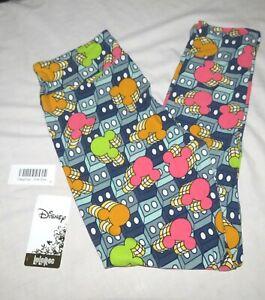 LuLaRoe Leggings One Size Disney Mickey Geometric Squares Grays Blue Pink New wi