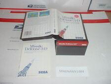 MISSILE DEFENSE 3-D game complete in case w/ Manual for SEGA MASTER system