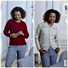 KNITTING PATTERN Ladies Lace Panel Jumper & Jacket with Collar DK King Cole 5225