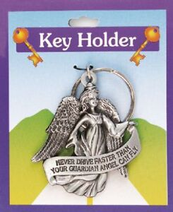 Drive Safely Never Drive Faster than Your Guardian Angel can Fly  Key Ring