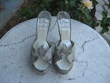 PAIGE Terry de Havilland London Lotte Camo Slide High Heels retail $563.00 39/