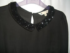 Beautiful vintage style black lace beaded collar blouse top, size 8, Yumi