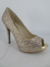 ALDO Nean Gold Glitter Peep Toe Heeled Shoes Uk 8 EM17 59
