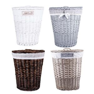 Wickerfield Four Colors Available Oval Wicker Laundry Basket with Lining and Lid