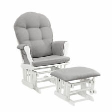 Windsor Glider Furniture And Ottoman White Finish With Gray Comfort Cushions