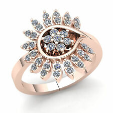 Flower Right Hand Ring 18K Gold Genuine 1ctw Round Cut Diamond Womens Bridal