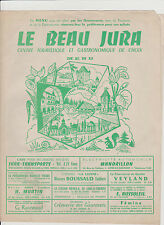 MENU ANCIEN PUBLICITAIRE DOUBLE PAGE- LE BEAU JURA - TOURISME/GASTRONOMIE