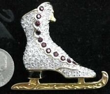 Retired Swarovski Crystal Gold Garnet Ice Skate Pin Brooch Swan Signed Jewelers