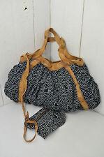SESSUN Tasche Mod. PIOU BAG Schwarz Weiß Braun Gepunktet Baumwolle Leder