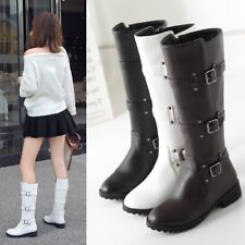 Womens Winter Fashion Round Toe Buckle Strap Block Heel Knee High Knight Boots