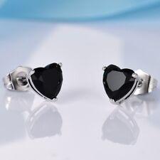Women Cute Heart Sapphire Garnet Peridot Amethyst Crystal Silver Stud Earrings