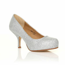 Womens Mid Heel Casual Smart Work Pump Ladies Court Shoes Size 3-8 Silver Glitter 41 UK 8