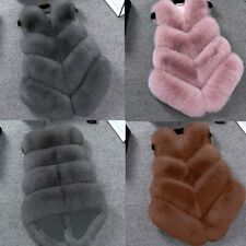 UK Winter Faux Fox Fur Jacket Coat Outwear Vest Women Warm Gilet Top TY