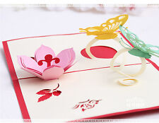 3D Pop Up Greeting Card Invitations Butterfly Flower Easter Birthday Valentine