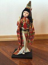 "Vintage Asian Japanese Kimono  Ichimatsu Kabuki Doll 10"" Glass Eyes And Hat"