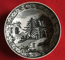 Antique Early 19th c. English Brown Historical Transferware Saucer Dish Tree