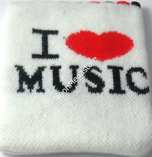 White Mobile Phone Pouch / MP3 / Sock With I Love Music